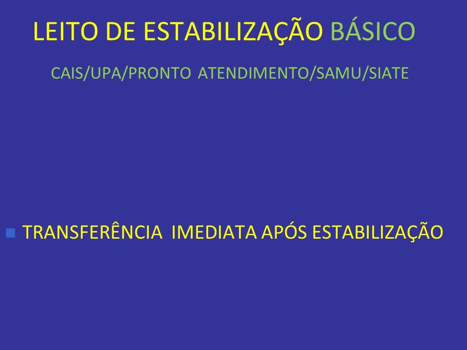 LEITO DE ESTABILIZAÇÃO BÁSICO CAIS/UPA/PRONTO ATENDIMENTO/SAMU/SIATE TRANSFERÊNCIA IMEDIATA APÓS ESTABILIZAÇÃO