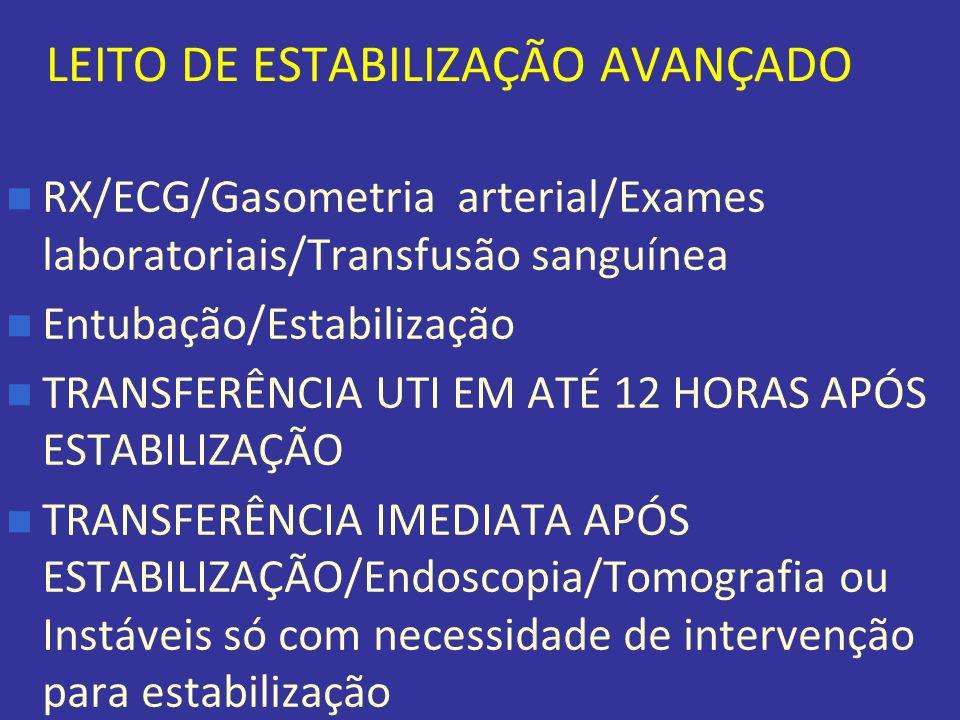 LEITO DE ESTABILIZAÇÃO AVANÇADO RX/ECG/Gasometria arterial/Exames laboratoriais/Transfusão sanguínea Entubação/Estabilização TRANSFERÊNCIA UTI EM ATÉ