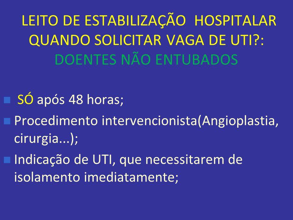 LEITO DE ESTABILIZAÇÃO HOSPITALAR QUANDO SOLICITAR VAGA DE UTI?: DOENTES NÃO ENTUBADOS SÓ após 48 horas; Procedimento intervencionista(Angioplastia, c