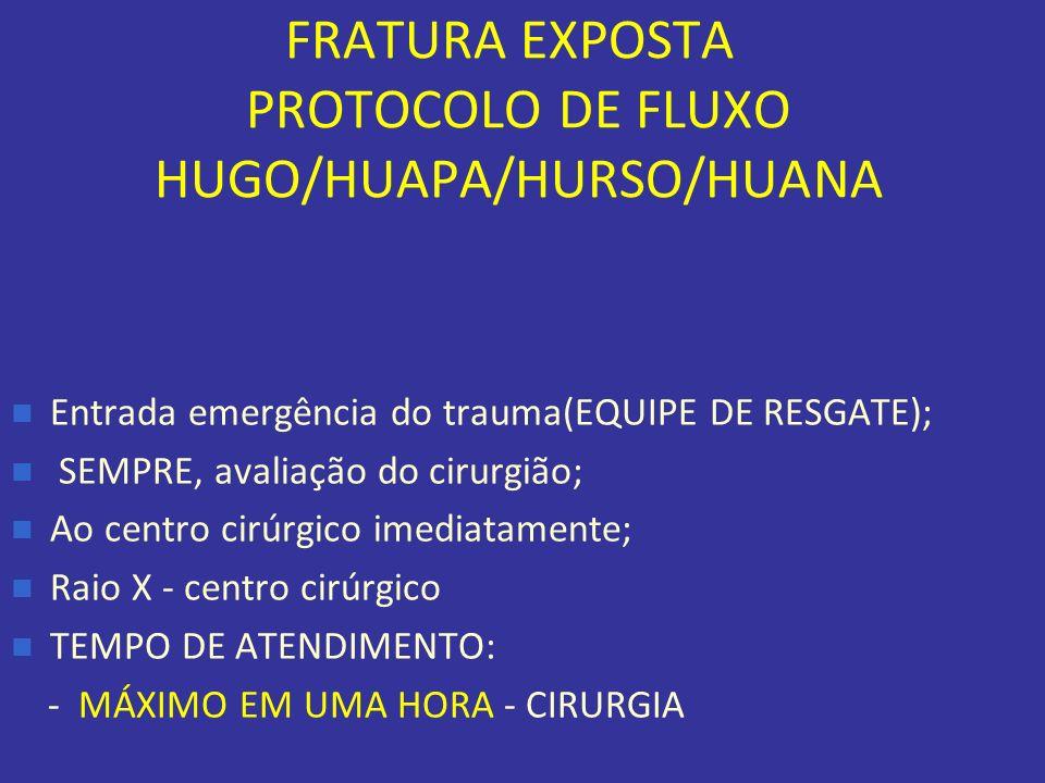 FRATURA EXPOSTA PROTOCOLO DE FLUXO HUGO/HUAPA/HURSO/HUANA Entrada emergência do trauma(EQUIPE DE RESGATE); SEMPRE, avaliação do cirurgião; Ao centro c