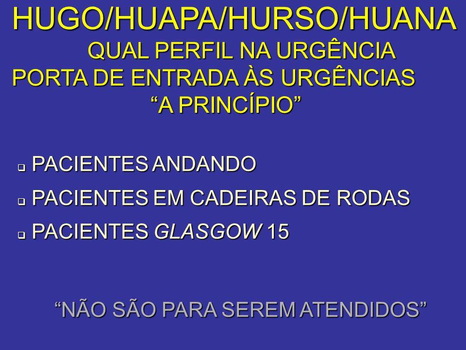 HUGO/HUAPA/HURSO/HUANA QUAL PERFIL NA URGÊNCIA QUAL PERFIL NA URGÊNCIA PORTA DE ENTRADA ÀS URGÊNCIAS A PRINCÍPIO A PRINCÍPIO PACIENTES ANDANDO PACIENT