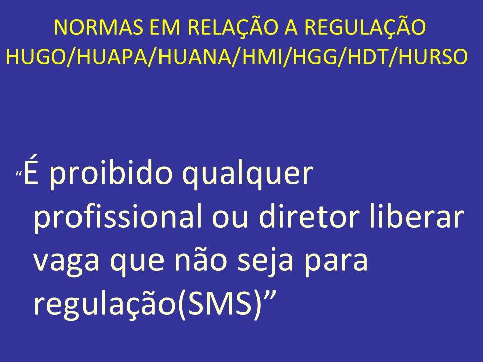NORMAS EM RELAÇÃO A REGULAÇÃO HUGO/HUAPA/HUANA/HMI/HGG/HDT/HURSO É proibido qualquer profissional ou diretor liberar vaga que não seja para regulação(