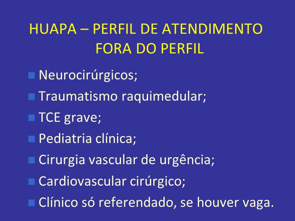 HUAPA – PERFIL DE ATENDIMENTO FORA DO PERFIL Neurocirúrgicos; Traumatismo raquimedular; TCE grave; Pediatria clínica; Cirurgia vascular de urgência; C