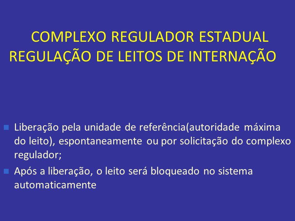 COMPLEXO REGULADOR ESTADUAL REGULAÇÃO DE LEITOS DE INTERNAÇÃO Liberação pela unidade de referência(autoridade máxima do leito), espontaneamente ou por