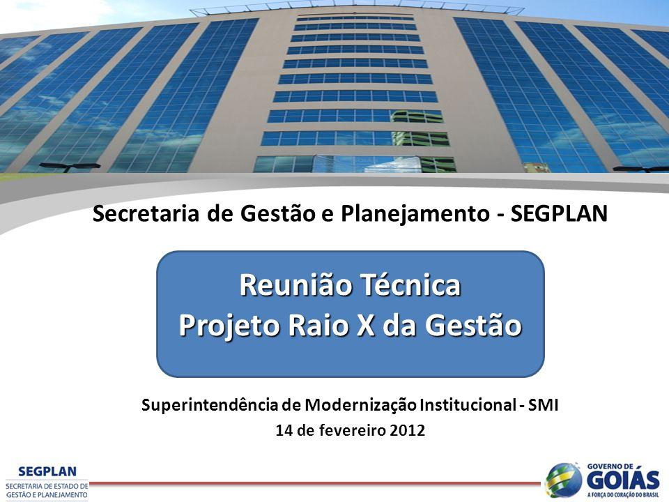 Secretaria de Gestão e Planejamento - SEGPLAN Superintendência de Modernização Institucional - SMI 14 de fevereiro 2012 Reunião Técnica Projeto Raio X