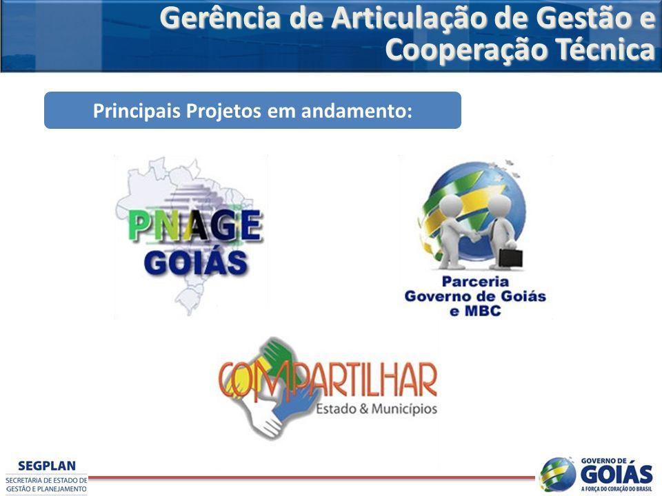 Principais Projetos em andamento: Gerência de Articulação de Gestão e Cooperação Técnica