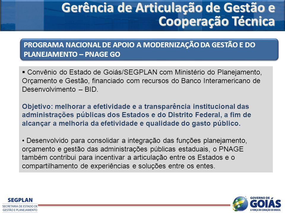 Convênio do Estado de Goiás/SEGPLAN com Ministério do Planejamento, Orçamento e Gestão, financiado com recursos do Banco Interamericano de Desenvolvim