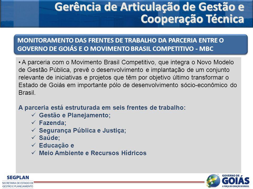 A parceria com o Movimento Brasil Competitivo, que integra o Novo Modelo de Gestão Pública, prevê o desenvolvimento e implantação de um conjunto relev