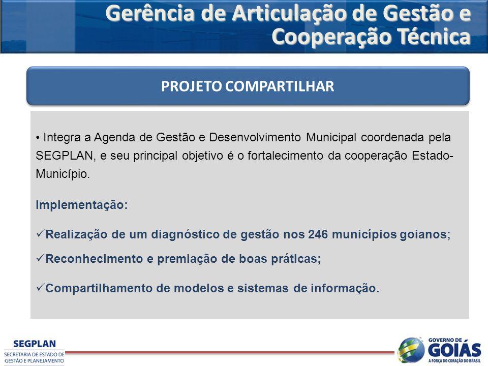 Integra a Agenda de Gestão e Desenvolvimento Municipal coordenada pela SEGPLAN, e seu principal objetivo é o fortalecimento da cooperação Estado- Muni