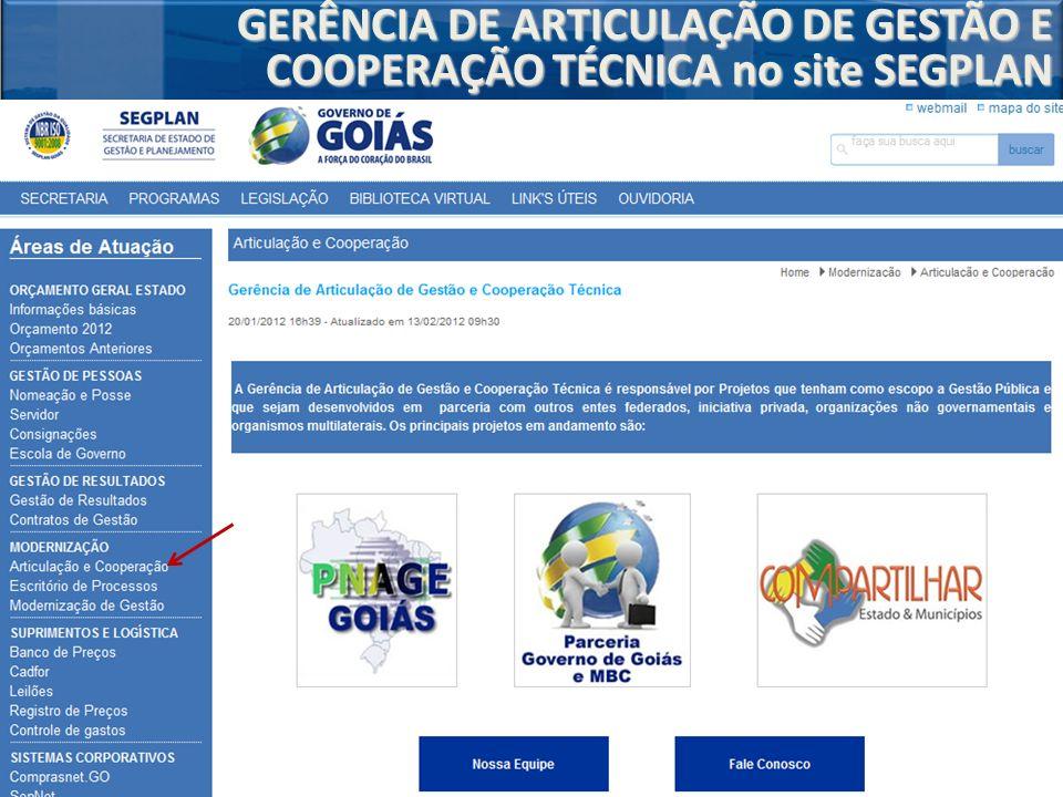 GERÊNCIA DE ARTICULAÇÃO DE GESTÃO E COOPERAÇÃO TÉCNICA no site SEGPLAN