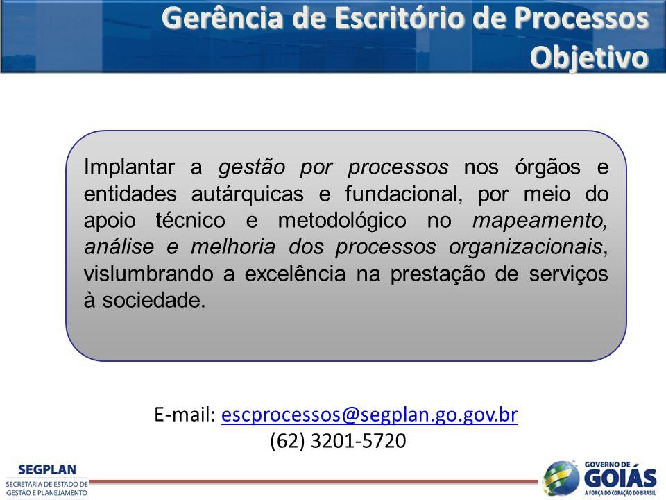 Gerência de Escritório de Processos Objetivo Implantar a gestão por processos nos órgãos e entidades autárquicas e fundacional, por meio do apoio técn