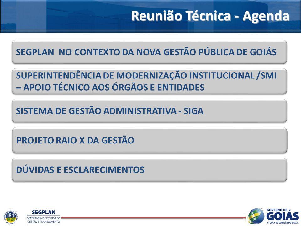 Reunião Técnica - Agenda SEGPLAN NO CONTEXTO DA NOVA GESTÃO PÚBLICA DE GOIÁS SUPERINTENDÊNCIA DE MODERNIZAÇÃO INSTITUCIONAL /SMI – APOIO TÉCNICO AOS Ó