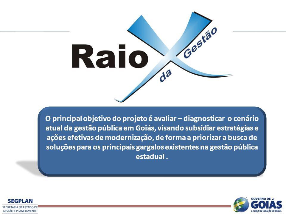O principal objetivo do projeto é avaliar – diagnosticar o cenário atual da gestão pública em Goiás, visando subsidiar estratégias e ações efetivas de
