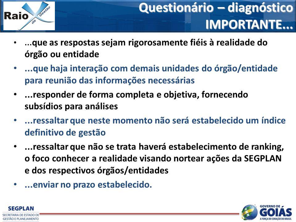 Questionário – diagnóstico IMPORTANTE...... que as respostas sejam rigorosamente fiéis à realidade do órgão ou entidade...que haja interação com demai