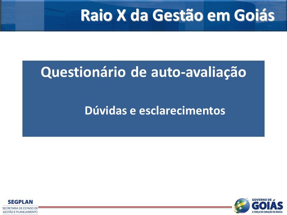 Raio X da Gestão em Goiás Questionário de auto-avaliação Dúvidas e esclarecimentos