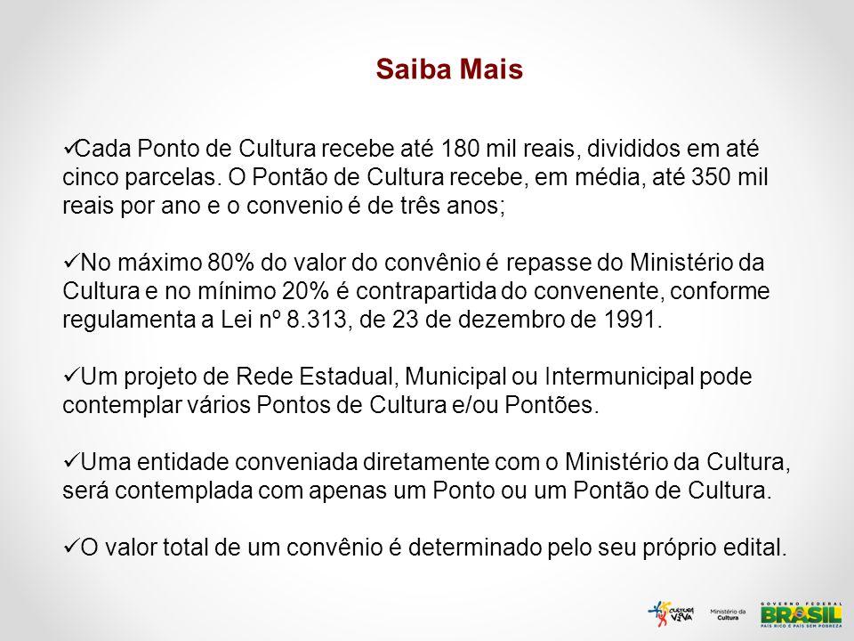 Saiba Mais Cada Ponto de Cultura recebe até 180 mil reais, divididos em até cinco parcelas. O Pontão de Cultura recebe, em média, até 350 mil reais po