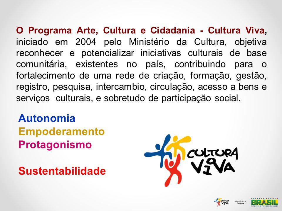 O Programa Arte, Cultura e Cidadania - Cultura Viva, iniciado em 2004 pelo Ministério da Cultura, objetiva reconhecer e potencializar iniciativas cult