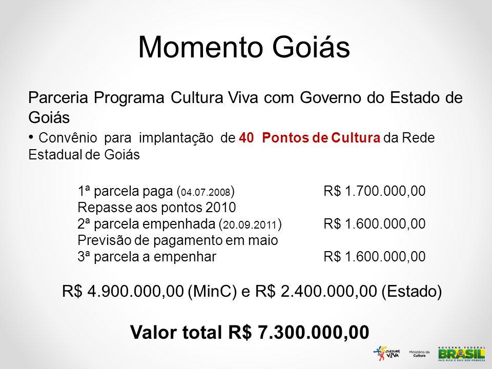 Momento Goiás Parceria Programa Cultura Viva com Governo do Estado de Goiás Convênio para implantação de 40 Pontos de Cultura da Rede Estadual de Goiá