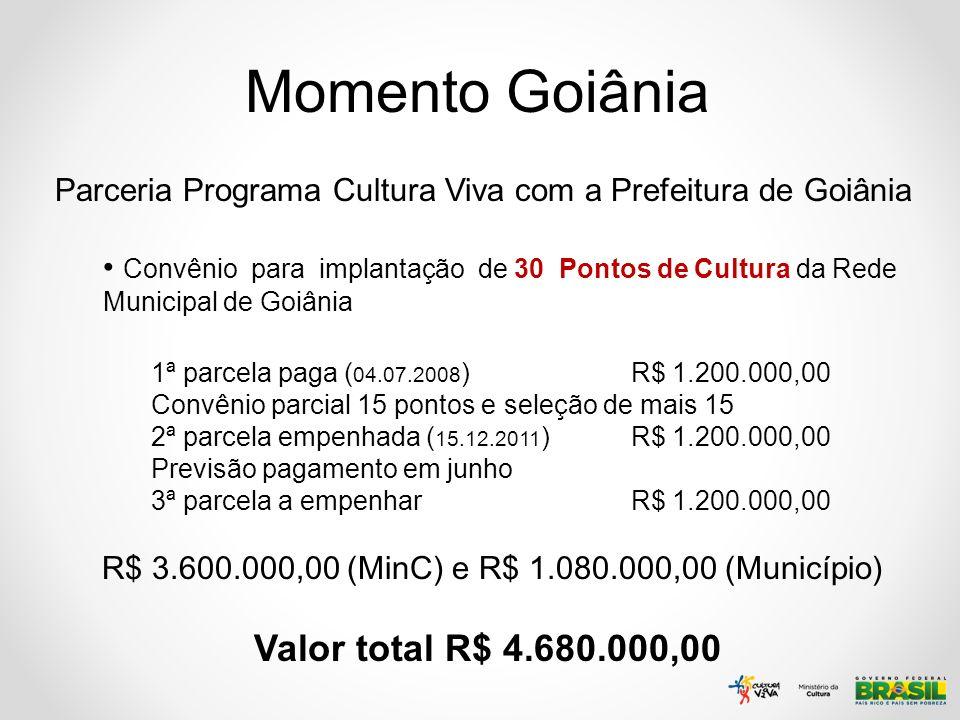 Momento Goiânia Parceria Programa Cultura Viva com a Prefeitura de Goiânia Convênio para implantação de 30 Pontos de Cultura da Rede Municipal de Goiâ