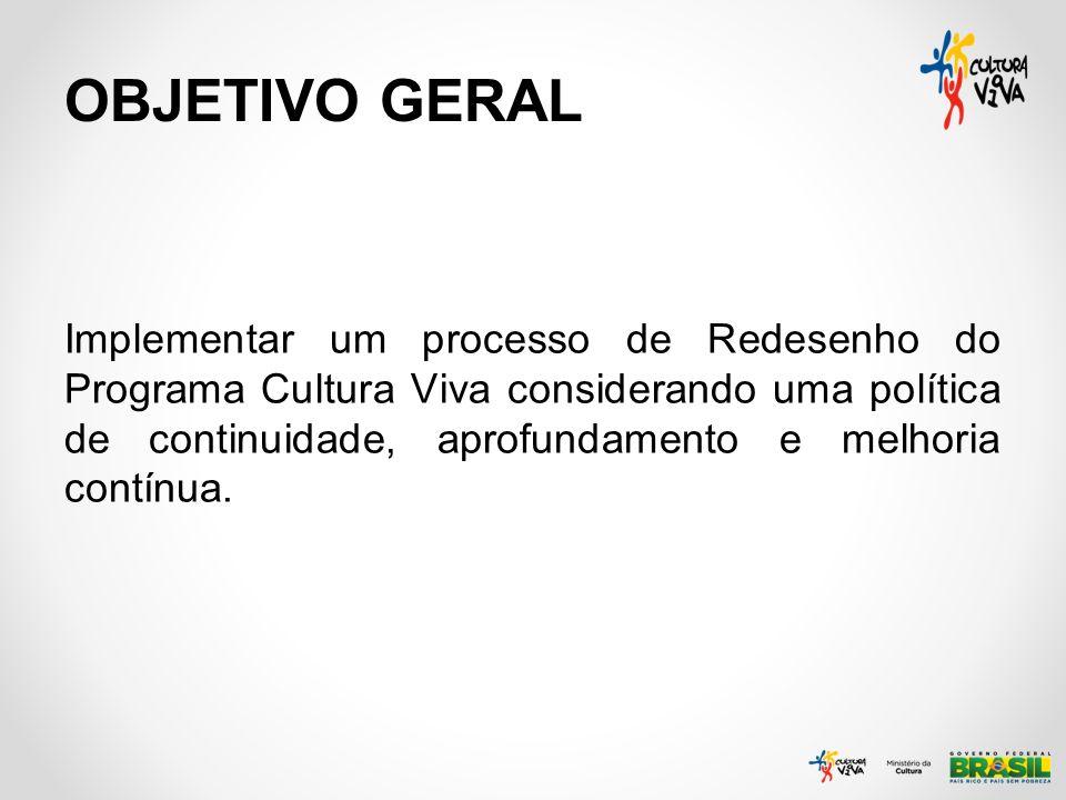 OBJETIVO GERAL Implementar um processo de Redesenho do Programa Cultura Viva considerando uma política de continuidade, aprofundamento e melhoria cont