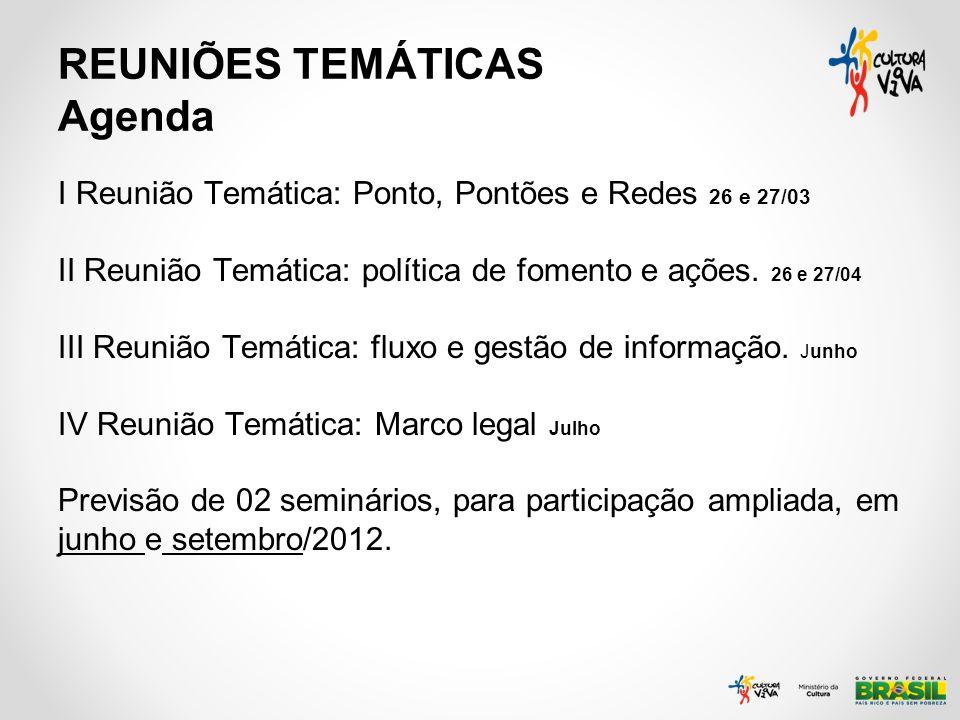 REUNIÕES TEMÁTICAS Agenda I Reunião Temática: Ponto, Pontões e Redes 26 e 27/03 II Reunião Temática: política de fomento e ações. 26 e 27/04 III Reuni