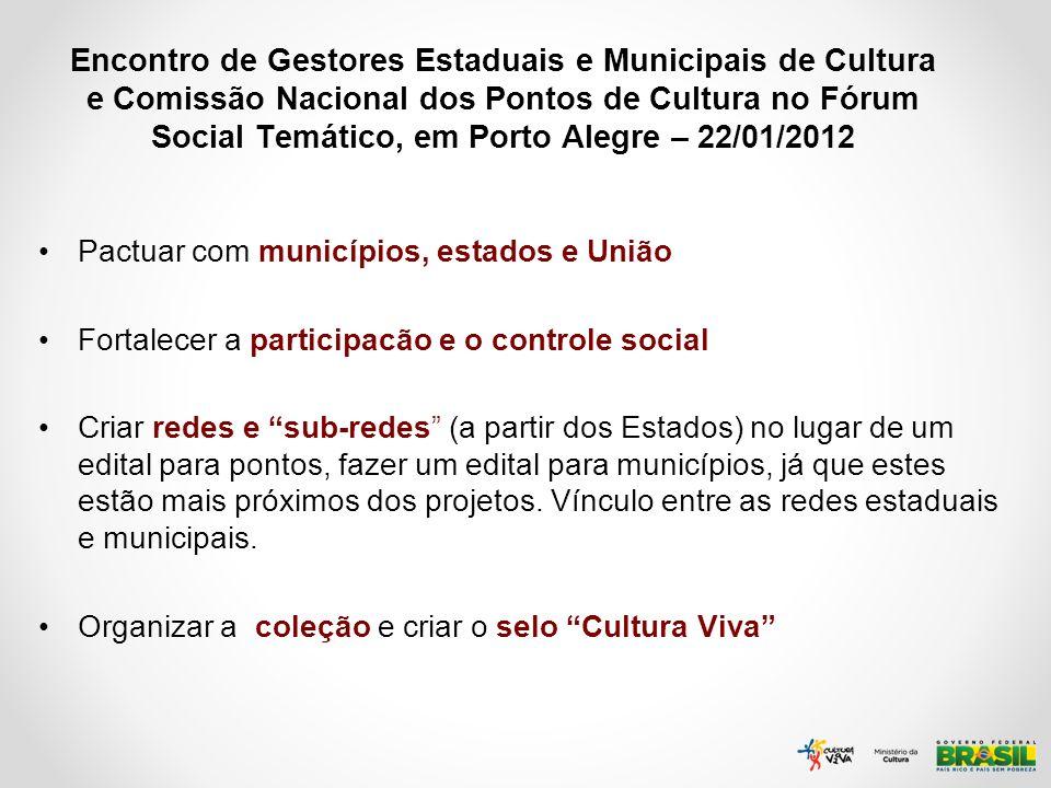 Encontro de Gestores Estaduais e Municipais de Cultura e Comissão Nacional dos Pontos de Cultura no Fórum Social Temático, em Porto Alegre – 22/01/201