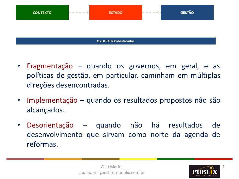 Caio Marini caiomarini@institutopublix.com.br 11 CONTEXTOESTADOGESTÃO Os DESAFIOS destacados Fragmentação – quando os governos, em geral, e as polític
