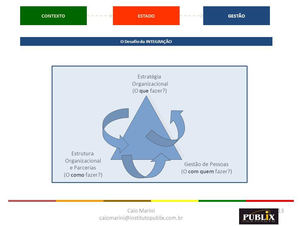 Caio Marini caiomarini@institutopublix.com.br 13 Estratégia Organizacional (O que fazer?) Estrutura Organizacional e Parcerias (O como fazer?) Gestão