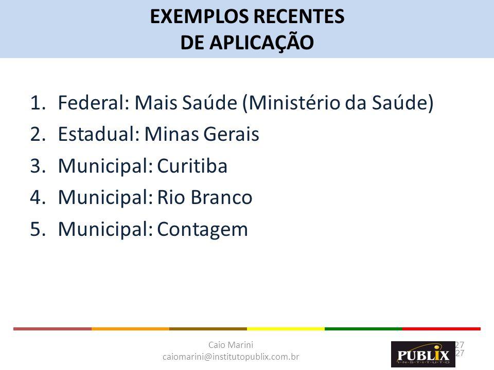 Caio Marini caiomarini@institutopublix.com.br 27 1.Federal: Mais Saúde (Ministério da Saúde) 2.Estadual: Minas Gerais 3.Municipal: Curitiba 4.Municipa