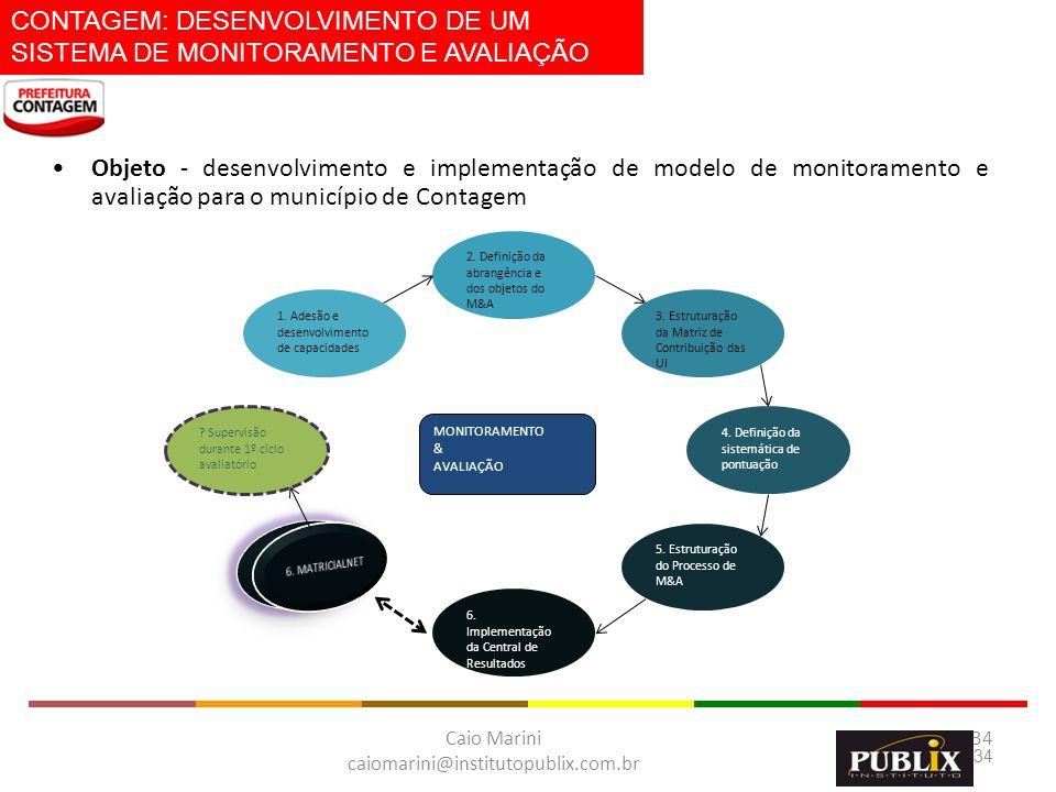Caio Marini caiomarini@institutopublix.com.br 34 MONITORAMENTO & AVALIAÇÃO 1. Adesão e desenvolvimento de capacidades 2. Definição da abrangência e do