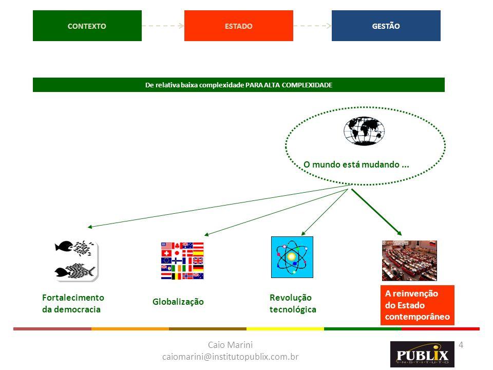 Caio Marini caiomarini@institutopublix.com.br 4 CONTEXTOESTADOGESTÃO O mundo está mudando... Fortalecimento da democracia Globalização Revolução tecno