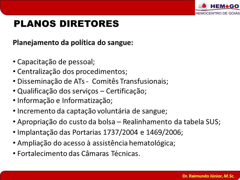 Planejamento da política do sangue: Capacitação de pessoal; Centralização dos procedimentos; Disseminação de ATs - Comitês Transfusionais; Qualificaçã