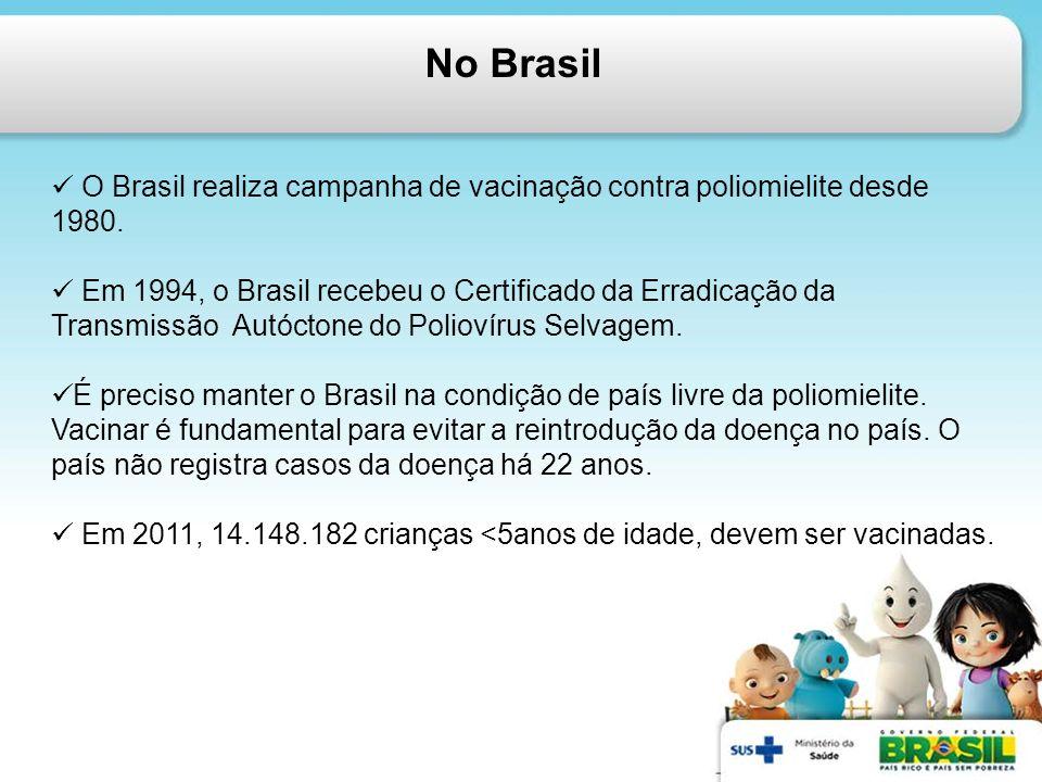 No Brasil O Brasil realiza campanha de vacinação contra poliomielite desde 1980. Em 1994, o Brasil recebeu o Certificado da Erradicação da Transmissão