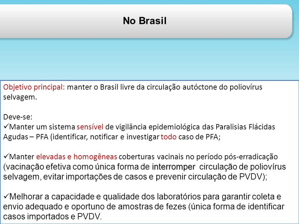 No Brasil Objetivo principal: manter o Brasil livre da circulação autóctone do poliovírus selvagem. Deve-se: Manter um sistema sensível de vigilância