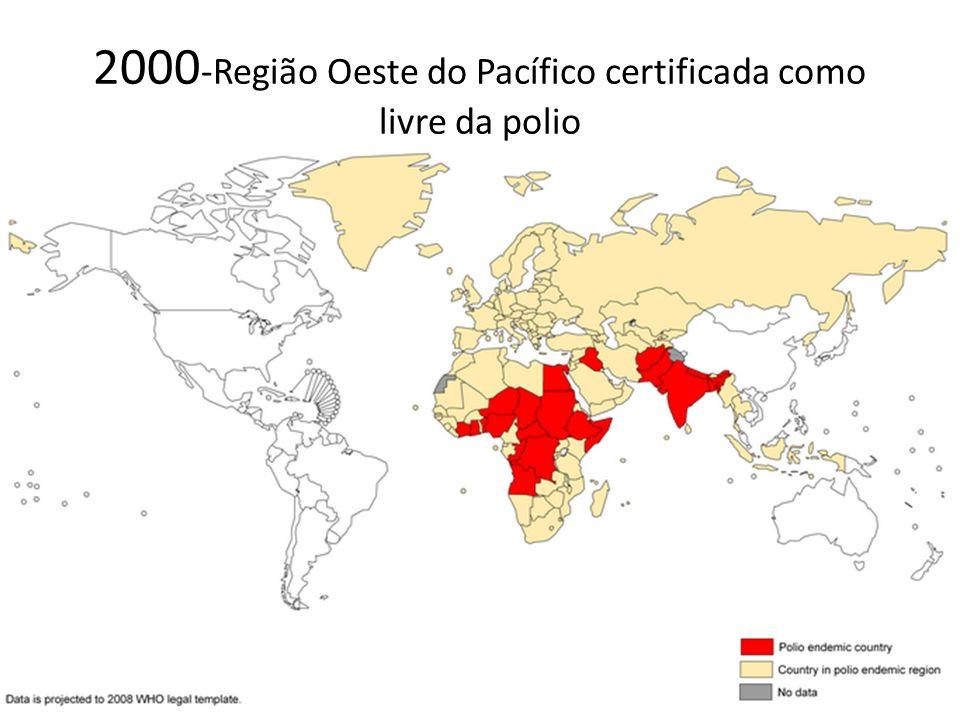 2000 -Região Oeste do Pacífico certificada como livre da polio