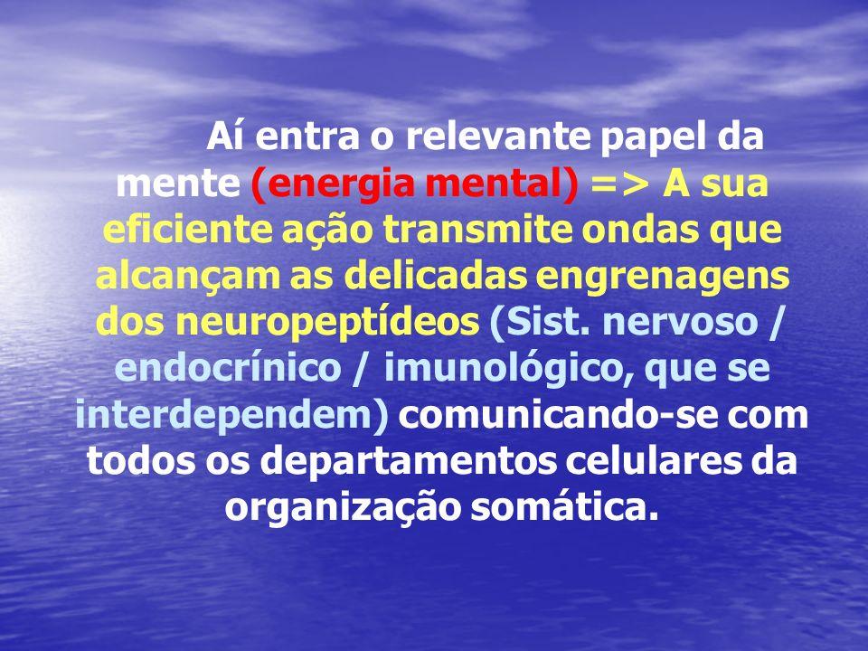 Aí entra o relevante papel da mente (energia mental) => A sua eficiente ação transmite ondas que alcançam as delicadas engrenagens dos neuropeptídeos
