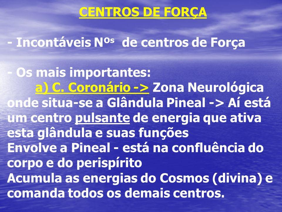 CENTROS DE FORÇA - Incontáveis Nº s de centros de Força - Os mais importantes: a) C. Coronário -> Zona Neurológica onde situa-se a Glândula Pineal ->