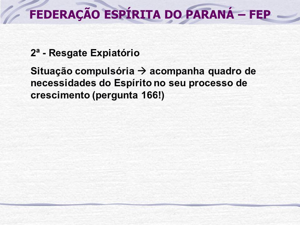FEDERAÇÃO ESPÍRITA DO PARANÁ – FEP 2ª - Resgate Expiatório Situação compulsória acompanha quadro de necessidades do Espírito no seu processo de cresci