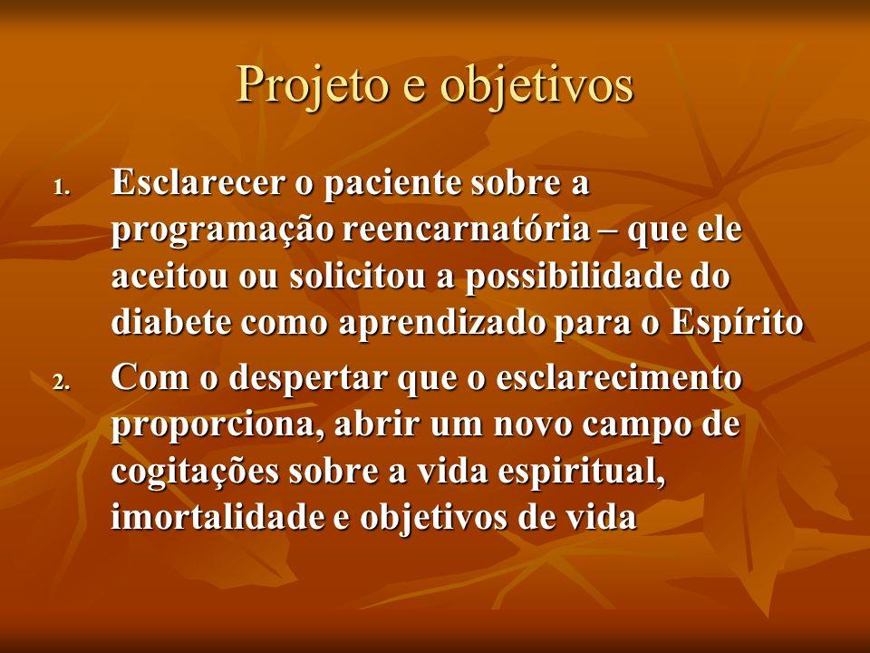 Projeto e objetivos 1. Esclarecer o paciente sobre a programação reencarnatória – que ele aceitou ou solicitou a possibilidade do diabete como aprendi