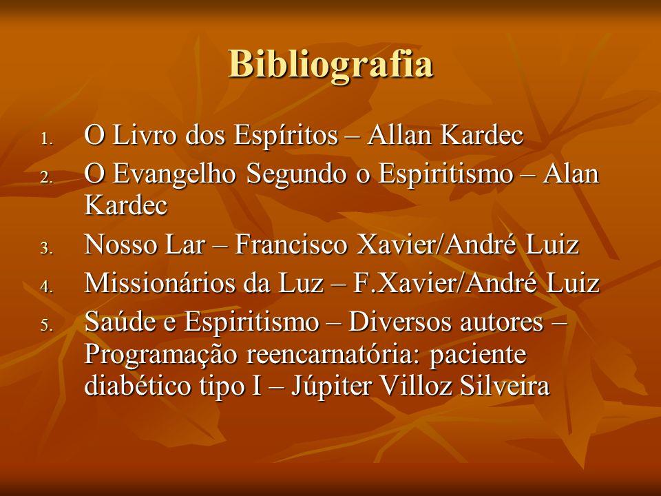 Bibliografia 1. O Livro dos Espíritos – Allan Kardec 2. O Evangelho Segundo o Espiritismo – Alan Kardec 3. Nosso Lar – Francisco Xavier/André Luiz 4.