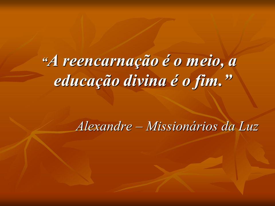 A reencarnação é o meio, a educação divina é o fim. A reencarnação é o meio, a educação divina é o fim. Alexandre – Missionários da Luz