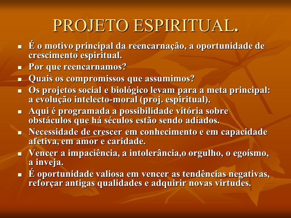 PROJETO ESPIRITUAL. É o motivo principal da reencarnação, a oportunidade de crescimento espiritual. É o motivo principal da reencarnação, a oportunida