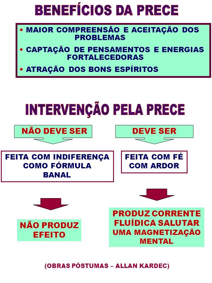 MAIOR COMPREENSÃO E ACEITAÇÃO DOS PROBLEMAS CAPTAÇÃO DE PENSAMENTOS E ENERGIAS FORTALECEDORAS ATRAÇÃO DOS BONS ESPÍRITOS NÃO DEVE SERDEVE SER FEITA CO