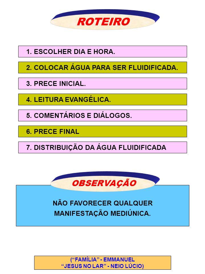 NÃO FAVORECER QUALQUER MANIFESTAÇÃO MEDIÚNICA. ROTEIRO 1. ESCOLHER DIA E HORA. 2. COLOCAR ÁGUA PARA SER FLUIDIFICADA. 3. PRECE INICIAL. 5. COMENTÁRIOS
