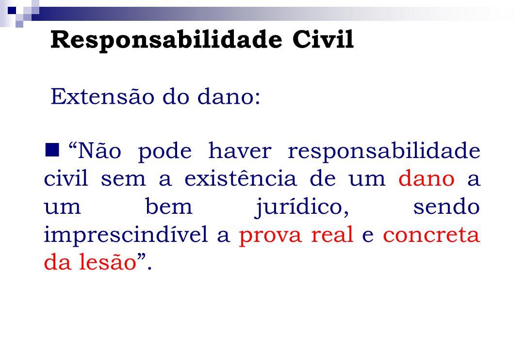 Responsabilidade Civil Extensão do dano: Não pode haver responsabilidade civil sem a existência de um dano a um bem jurídico, sendo imprescindível a p