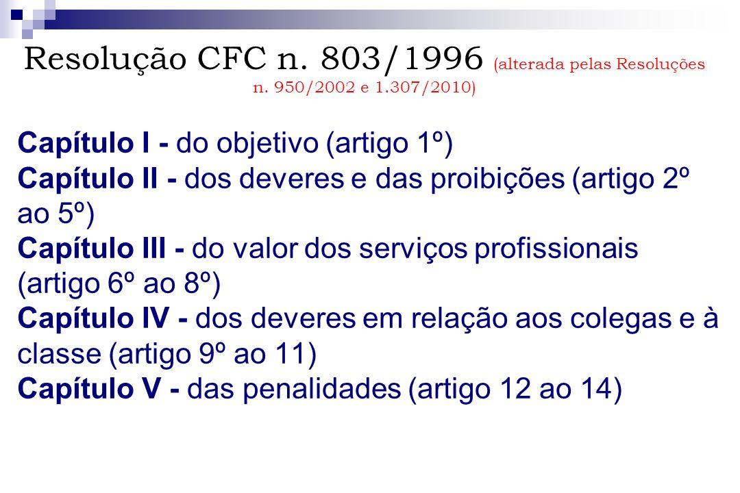 Capítulo I - do objetivo (artigo 1º) Capítulo II - dos deveres e das proibições (artigo 2º ao 5º) Capítulo III - do valor dos serviços profissionais (