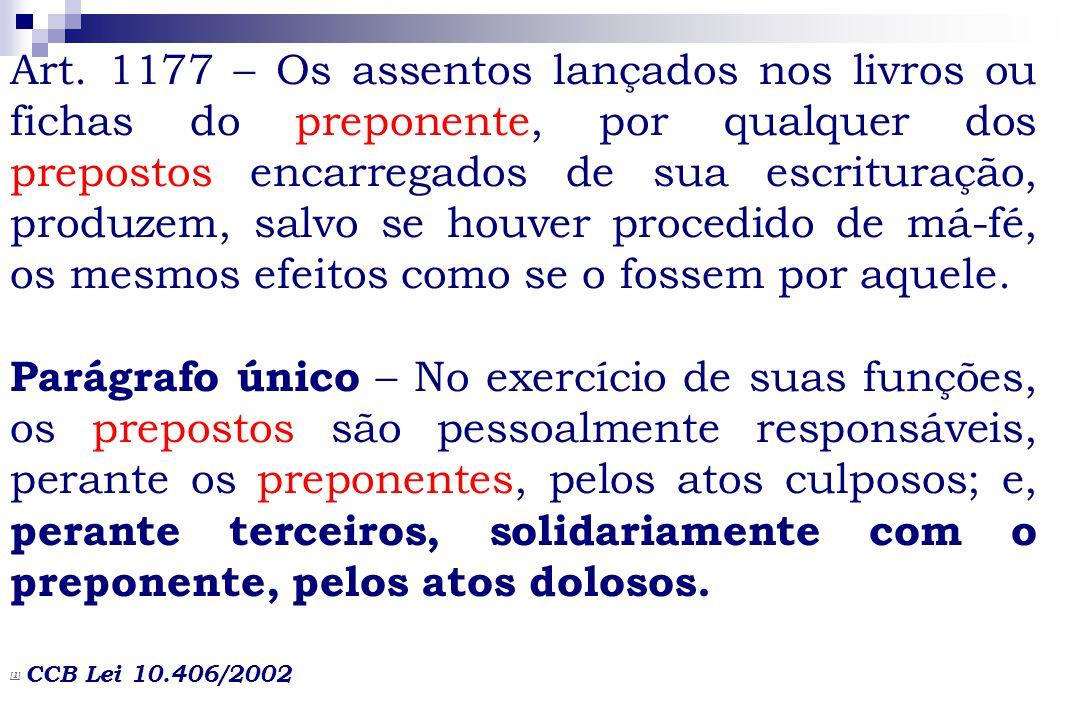 Art. 1177 – Os assentos lançados nos livros ou fichas do preponente, por qualquer dos prepostos encarregados de sua escrituração, produzem, salvo se h