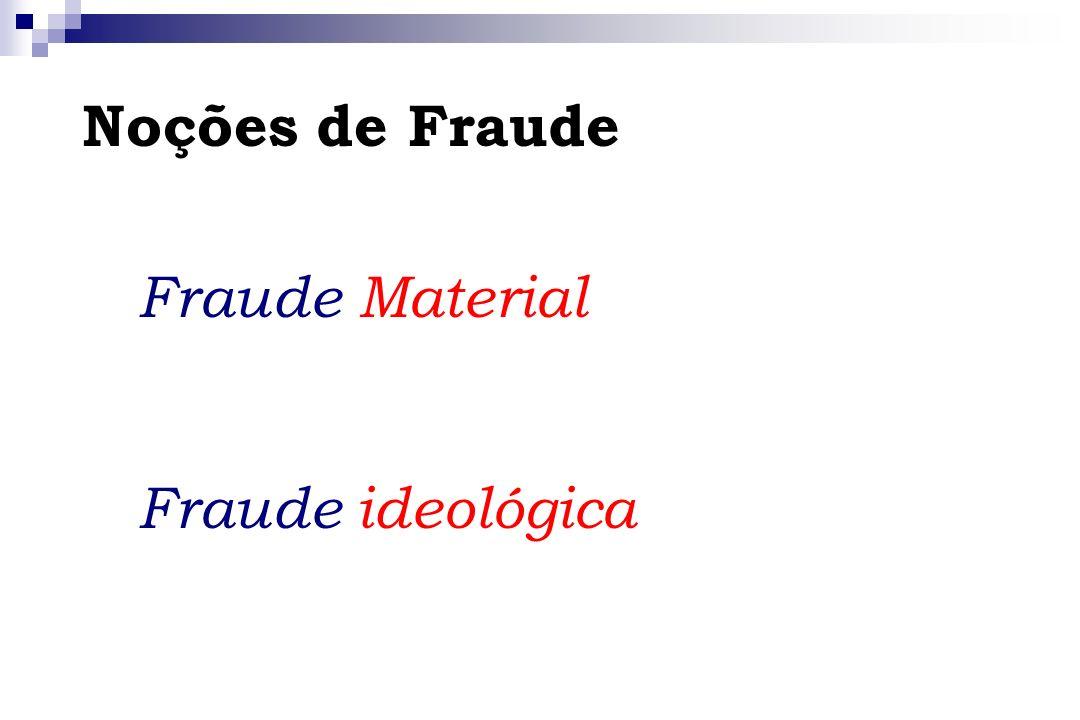 Noções de Fraude Fraude Material Fraude ideológica