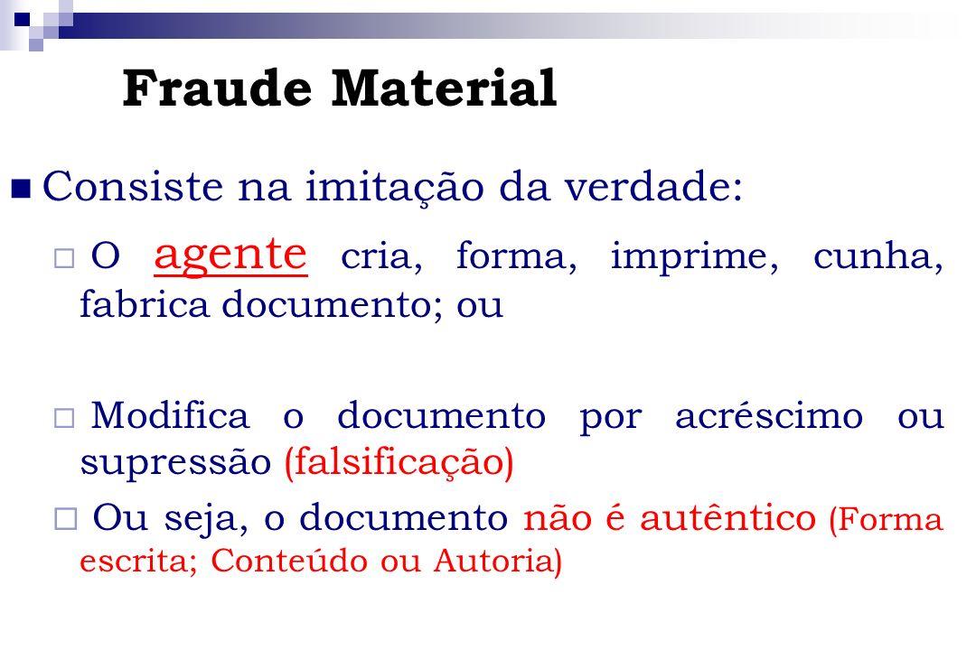 Fraude Material Consiste na imitação da verdade: O agente cria, forma, imprime, cunha, fabrica documento; ou Modifica o documento por acréscimo ou sup