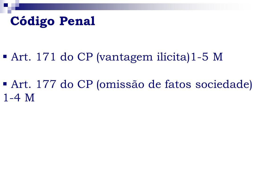 Código Penal Art. 171 do CP (vantagem ilícita)1-5 M Art. 177 do CP (omissão de fatos sociedade) 1-4 M